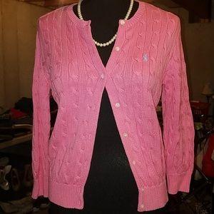 Ralph Lauren pink cardigan top sweater large